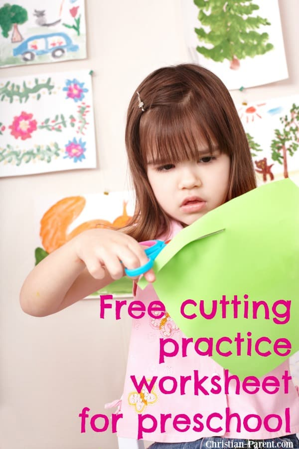How to help preschool aged children learn to use scissors by having them cut out shapes and lines. Download a free printable to help practice cutting shapes and lines!