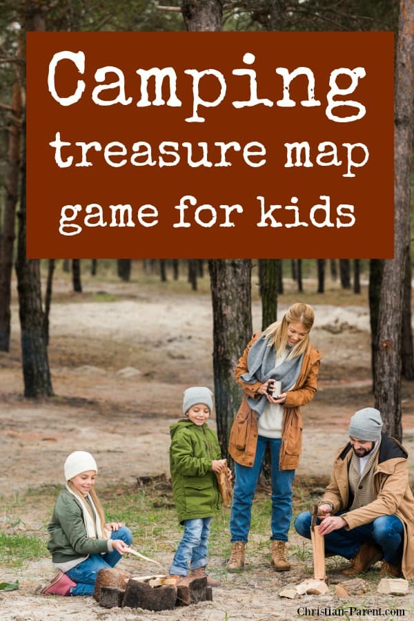 Camping treasure map game for kids