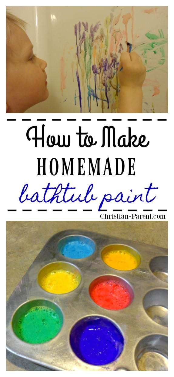 Recipe for making homemade bathtub paint. Fun bathtub activity for toddlers and preschoolers!