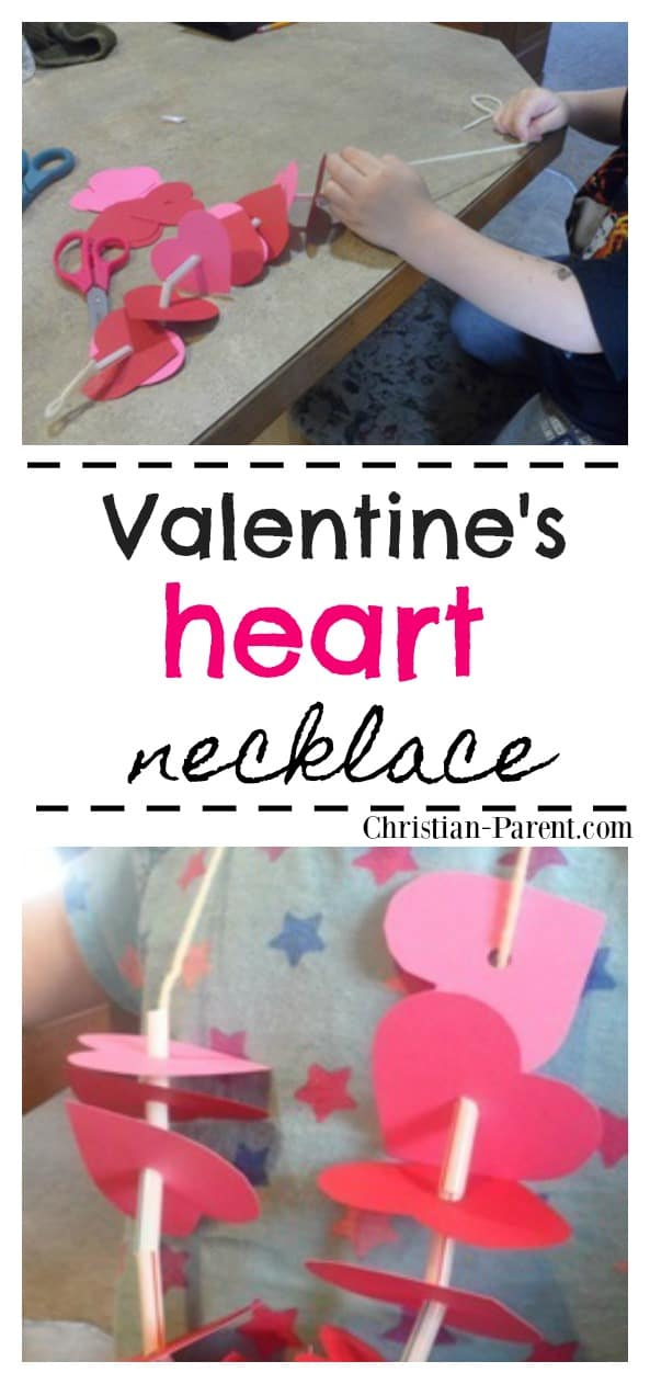Easy Valentine's Day heart necklace craft for kids. One of my favorite preschool Valentine's Day crafts.
