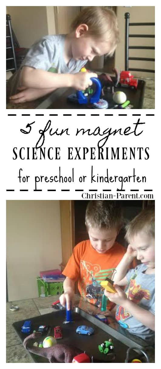 Five fun magnet experiments for kids. Easy homeschooling science experiment for preschool or kindergarten.