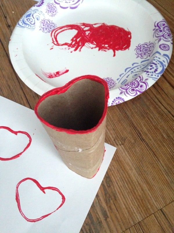 Easy DIY heart stamp to make for Valentine's Day. Fun, easy Valentine's Day craft for preschool kids.