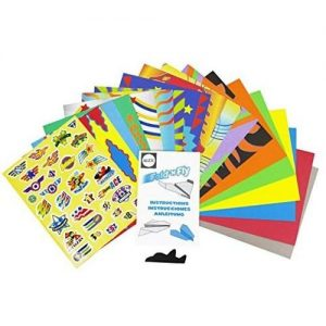 The Fold 'n Fly paper airplane kit comes with 18 sturdy colored papers and instructions on how to make six different styles of paper airplanes:.
